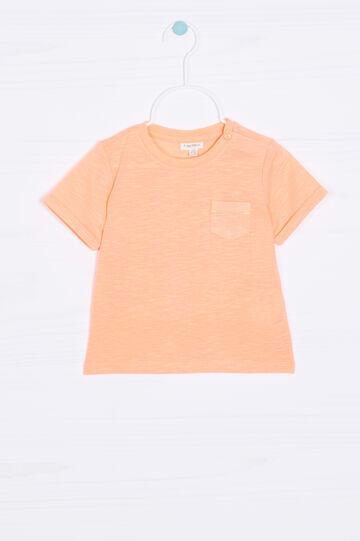 Solid colour T-shirt with pocket, Neon Orange, hi-res