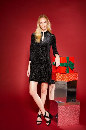 Patterned stretch dress with splits, Black, hi-res
