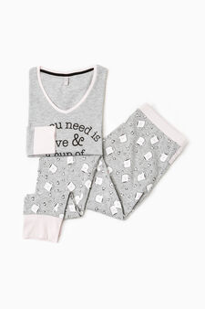 Patterned pyjamas in 100% cotton, Grey Marl, hi-res