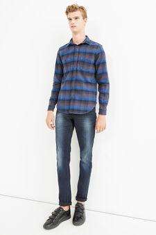 G&H striped cotton casual shirt, Blue/Brown, hi-res