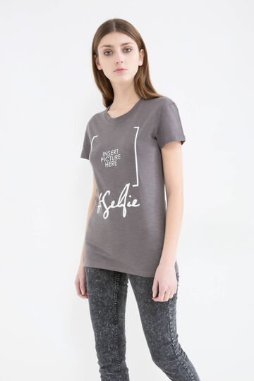 100% cotton T-shirt with print, Stone Grey, hi-res