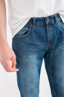 Worn-effect, straight-fit jeans with turn-ups, Denim, hi-res