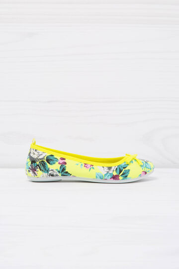 Printed ballerina flats with bow, Neon Yellow, hi-res