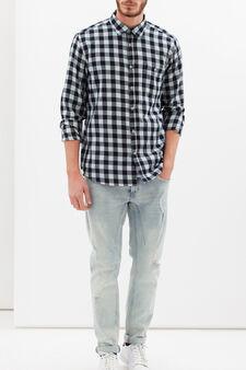 Camicia slim fit cotone con taschino, Blu/Azzurro, hi-res