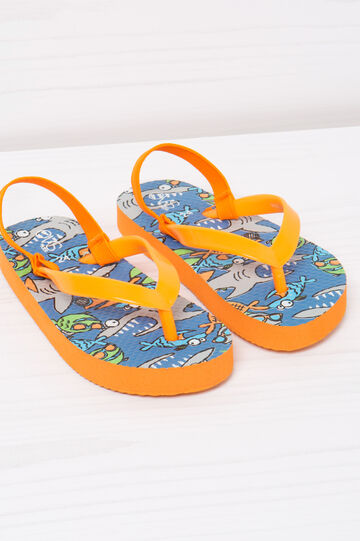 Printed thong sandals with elastic insert