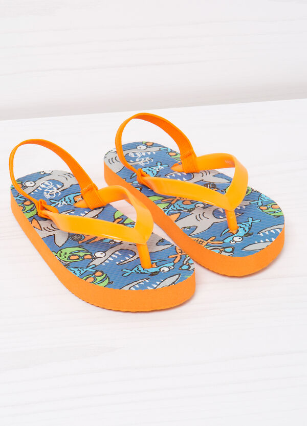 Printed thong sandals with elastic insert | OVS
