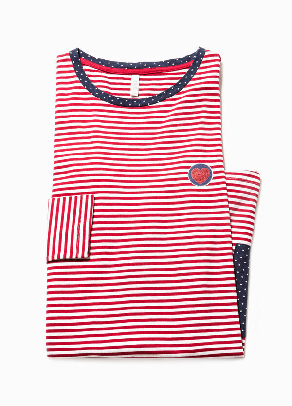 Polka dot and striped cotton nightshirt | OVS