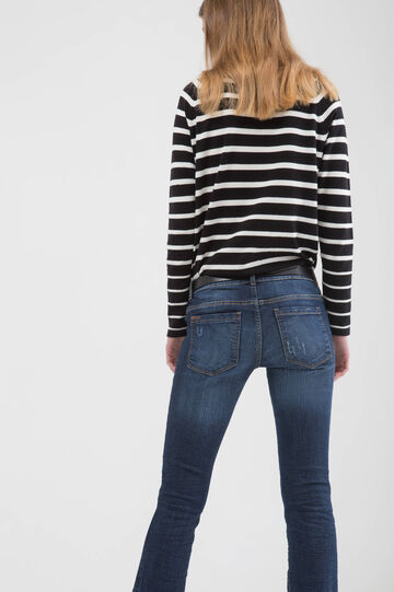 Jeans bootcut stretch effetto used, Blu scuro, hi-res