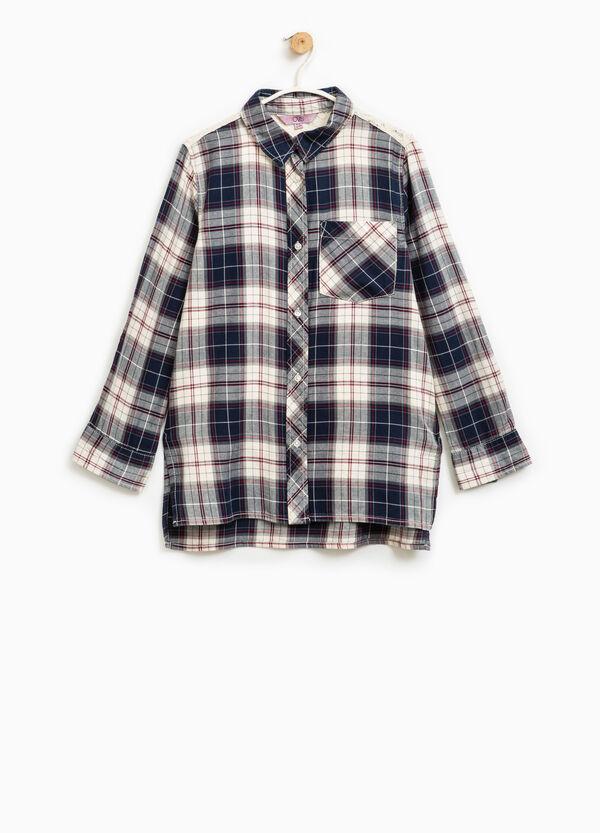 Camisa larga de cuadros con encaje | OVS
