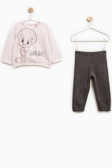 Cotton outfit with Tweetie Pie maxi print, Grey/Pink, hi-res