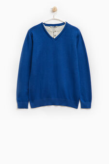 Faux layered pullover in 100% cotton, Blue, hi-res