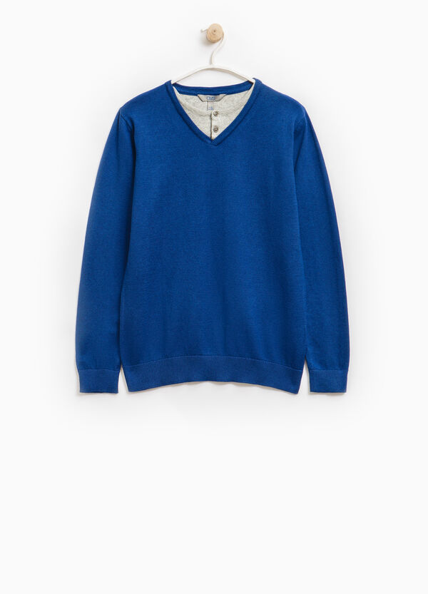 Faux layered pullover in 100% cotton | OVS