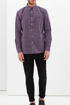 Tartan shirt with pocket, White/Blue/Red, hi-res
