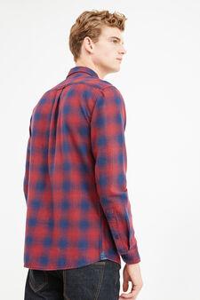 Camicia casual puro cotone quadri, Blu/rosso, hi-res