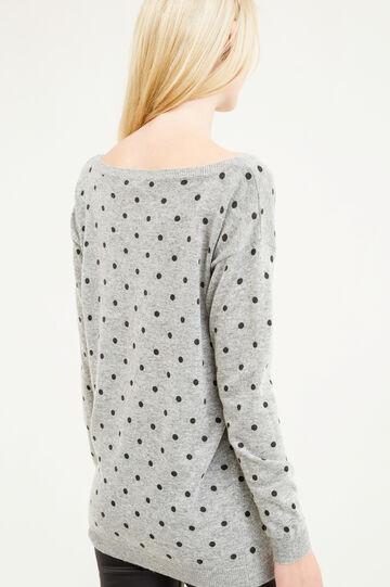 Polka dot patterned pullover in wool blend, Black/Grey, hi-res