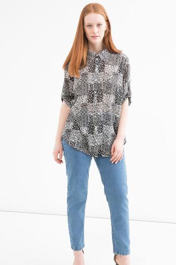Patterned Curvy shirt, Black/White, hi-res
