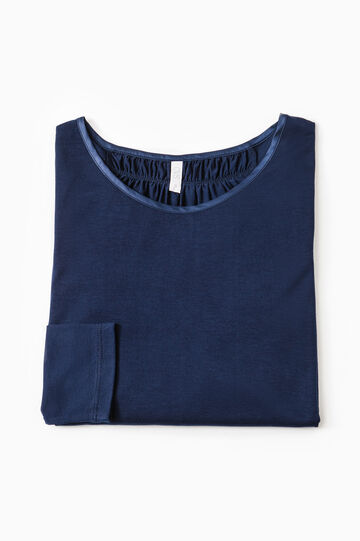 Pyjama top with pleated motif, Navy Blue, hi-res