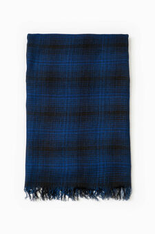 Cotton viscose check scarf, Blue, hi-res