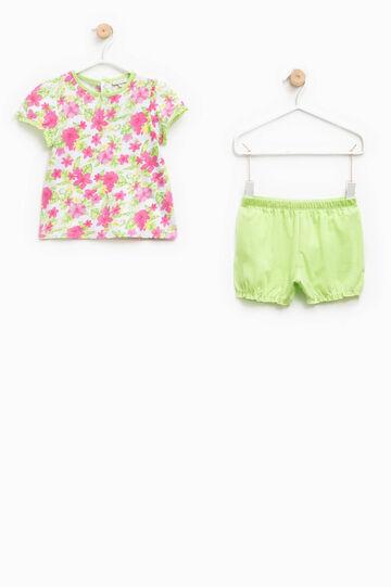 Pijama de camiseta y shorts 100% Biocotton, Verde, hi-res