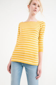 Striped pullover with three-quarter sleeves, Ochre Yellow, hi-res