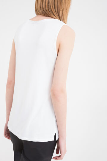 Stretch viscose top with floral pattern, White, hi-res