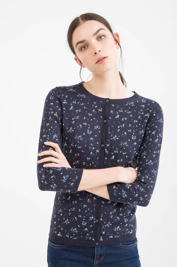 100% cotton cardigan with pattern, Navy Blue, hi-res