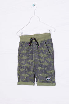 Bermuda shorts in 100% cotton with shark pattern, Green, hi-res