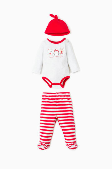 Striped hat, bodysuit and trousers with feet set, Grey/Red, hi-res