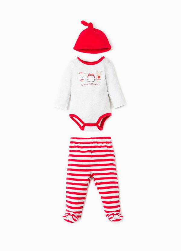 Striped hat, bodysuit and trousers with feet set | OVS
