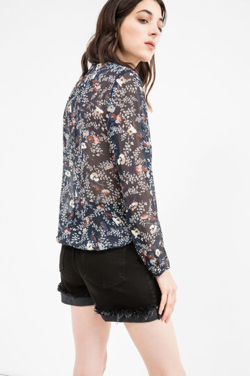 Floral print blouse with frills, Blue, hi-res