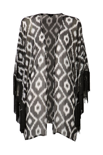 Beach cover-up with ethnic pattern, Black/White, hi-res