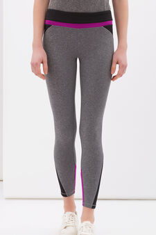 Stretch gym leggings, Black/Grey, hi-res