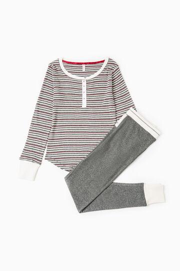 Striped patterned pyjamas in 100% cotton, White/Grey, hi-res