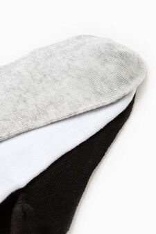 Three-pack short cotton socks, Black/White, hi-res