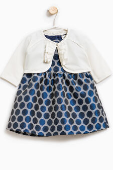 Patterned cotton blend outfit, White/Blue, hi-res