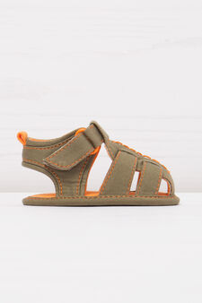 Sandals with contrasting colour lining., Army Green, hi-res