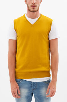 V-neck waistcoat, Ochre Yellow, hi-res
