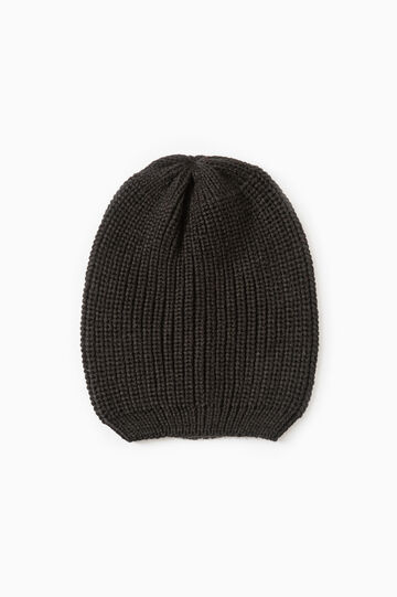 Solid colour knit beanie, Black, hi-res