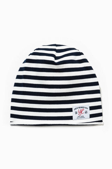 Striped beanie cap with patch, White/Blue, hi-res