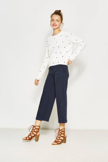 Baggy-fit, stretch cotton trousers