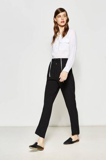 Viscose trousers with trim