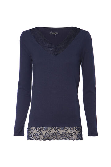 Smart Basic cotton T-shirt with lace, Navy Blue, hi-res