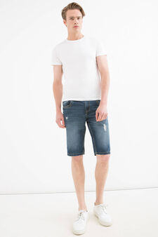Straight fit worn denim Bermuda shorts, Denim, hi-res