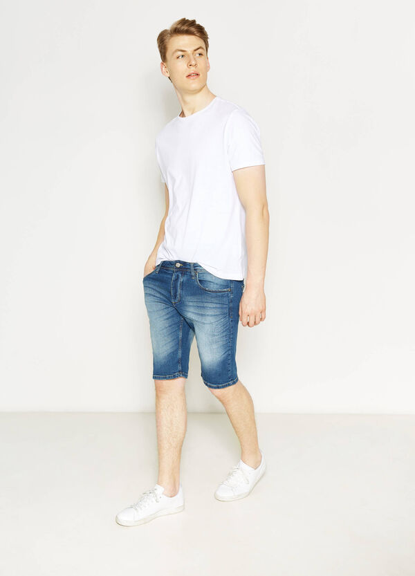 Skinny-fit stretch denim Bermuda shorts | OVS