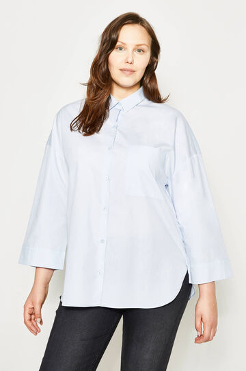 Curvy wide shirt with pocket, Light Blue, hi-res