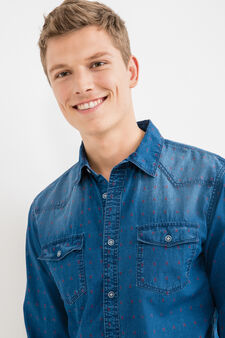 G&H casual denim shirt with pattern, Denim Blue, hi-res
