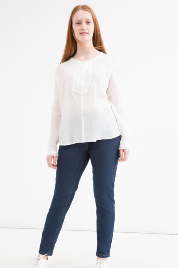 Curvy solid colour cotton shirt, Cream White, hi-res
