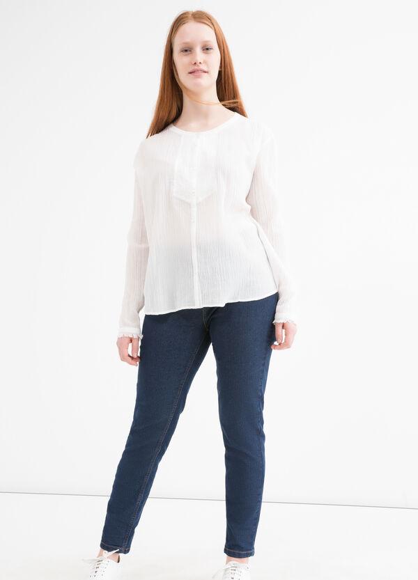 Curvy solid colour cotton shirt | OVS