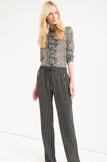 Patterned trousers with drawstring, Black/White, hi-res