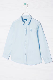100% cotton shirt with embroidery, Light Blue, hi-res
